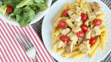 20 Minute Dinner – Creamy Chicken Pasta with Fresh Tomatoes!