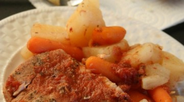 Crockpot Pork Chop Dinner with potatoes and carrots