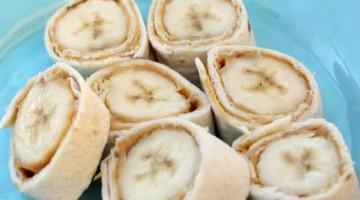 Banana & Peanut Butter Roll ups – easy snack idea