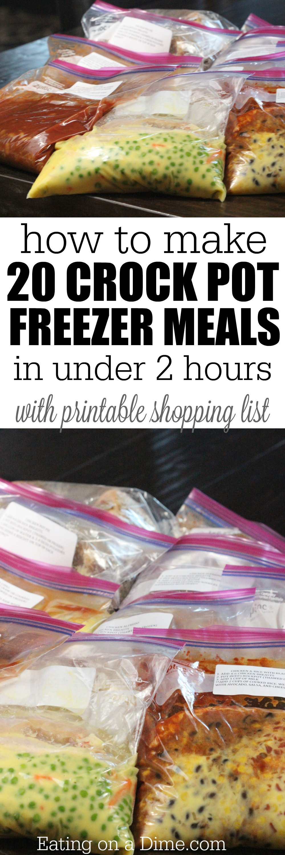 Making crock pot freezer meals saves time and saves money. These are the best crock pot freezer meals that are kid friendly and easy to make in under a hour. These make ahead crock pot recipes are easy, healthy and comes with a shopping list. You are going to love these chicken and beef crock pot recipes! #eatingonadime #crockpotrecipes #freezerrecipes