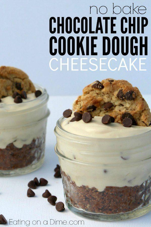Mini No bake Chocolate Chip Cookie Cheesecake Recipe