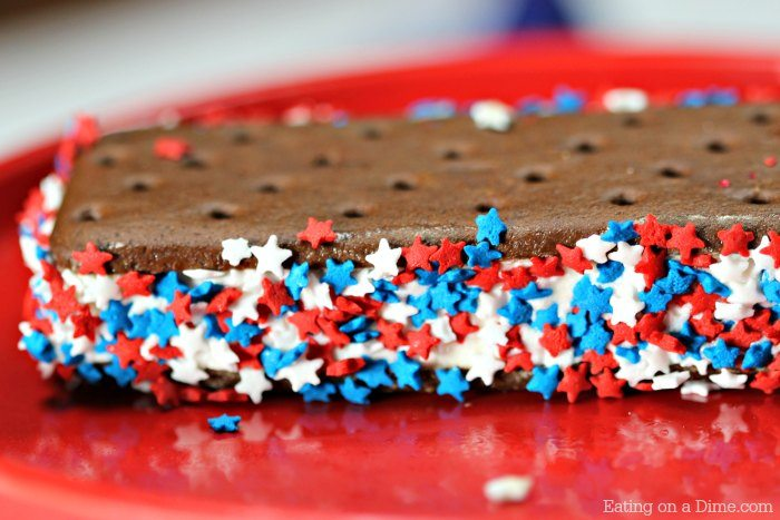 Try this easy 4th of July Ice Cream Sandwich recipe. It is super simple but very festive for the perfect 4th of July dessert.
