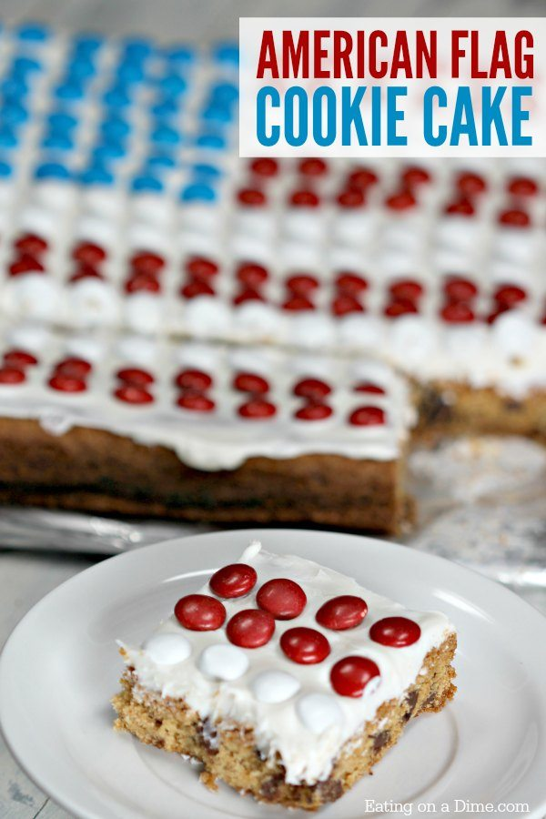 This American Flag Cookie Cake Recipe is super simple to make. It is the best 4th of July dessert recipe . You will be shocked how easy it is to make.