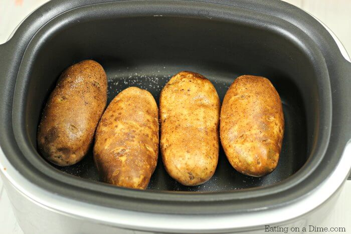 Try Crock pot baked potatoes for a simple meal. Baked potatoes in crock pot without foil can be thrown together quickly. Make baked potatoes in crock pot.