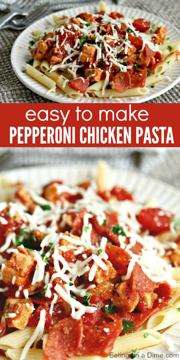 Pepperoni Chicken Pasta Recipe is quick and easy. It is the perfect meal for busy nights. Your family will love Chicken Pepperoni Pasta!