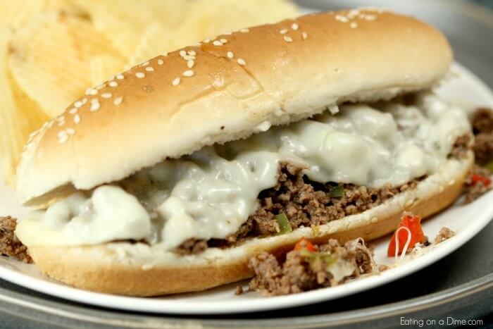 Try this Easy Philly Cheesesteak sloppy joes recipe for a quick dinner! Everyone will love Philly cheese sloppy joes. The onions, peppers and cheese are so good! Philly cheese steak sloppy joes is so simple and cheap to make. Make this Philly cheesesteak sloppy joe recipe today!