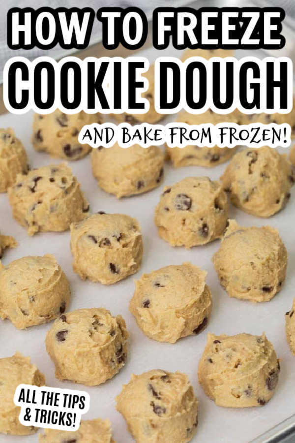Learn how to freeze cookies for baking. I love freezing cookie dough so I can make make cookies at any time. How to freeze cookie dough balls is great for the holidays and for every day use too! Freezing cookie dough before baking them is great so you can bake the cookie dough from frozen. How to make frozen cookie dough is easy to do and great for Christmas. Cookie dough is great to make ahead and freeze for instant cookies at anytime. You'll love all these Cookie dough tips including how long can you freeze them, how do you freeze them and packaging so they last in the freezer! #eatingonadime #freezertips #howtofreeze #cookiedough #frozencookiedough #howtofreezecookiesforbaking