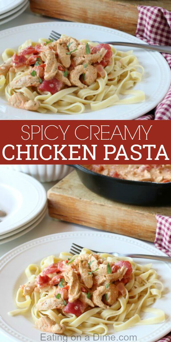 Spicy creamy chicken pasta recipe is a one pot meal that makes dinner time easy! This Creamy Chicken pasta is packed with so much flavor. The tomatoes, cream cheese and chicken combine to make an amazing dish.You will love Creamy chicken pasta recipes! Try this Creamy chicken and pasta today!