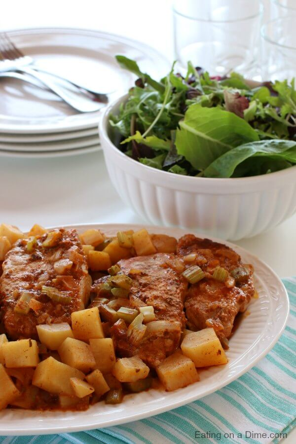 Cowboy Crockpot Pork Chops Recipe is packed with amazing flavor. You will love how quick and easy Slow cooker pork chops and potatoes comes together. The potatoes and pork chops are so yummy! Try Cowboy slow cooker pork chops recipe. Cowboy pork chops is the best dinner. Cowboy pork chops dinner recipe is so simple.