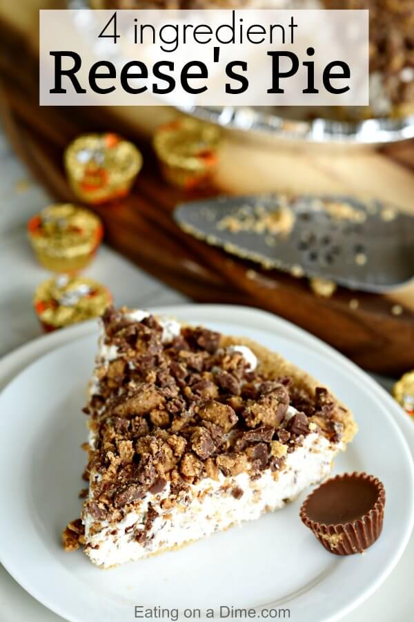 This Peanut Butter Reese's Pie Recipe is the perfect no bake dessert. Reese's peanut butter pie recipe is delicious. Try Reese's chocolate peanut butter cup pie for an easy dessert recipe. This is the best Peanut Butter Pie easy no bake recipe. The entire family will love Reese's Chocolate Peanut Butter Pie Recipe! #eatingonadime #pierecipes #dessertrecipes #reesesrecipes #easydesserts