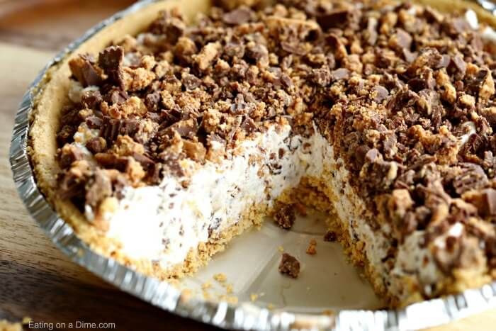 This Reeses Pie Recipe is the perfect no bake dessert. Reese's peanut butter pie recipe is delicious. Try Reese's peanut butter cup pie for an easy dessert.