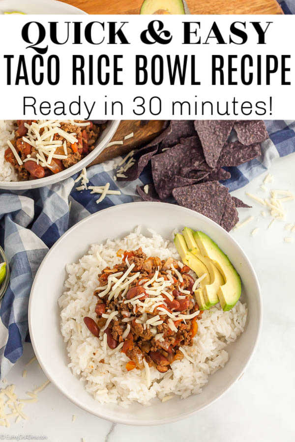 Taco bowl recipe only takes a few easy ingredients and 30 minutes to prepare. Make this taco rice and everyone can choose their favorite toppings!