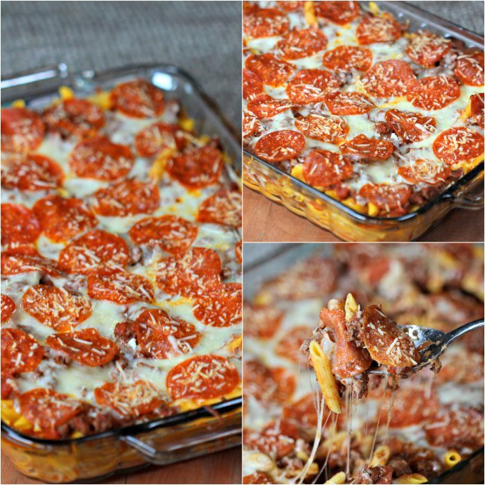 This easy pizza casserole recipe is a family pleaser! An Easy casserole recipe. Plus this pizza pasta casserole is an easy freezer meal. Try it today!