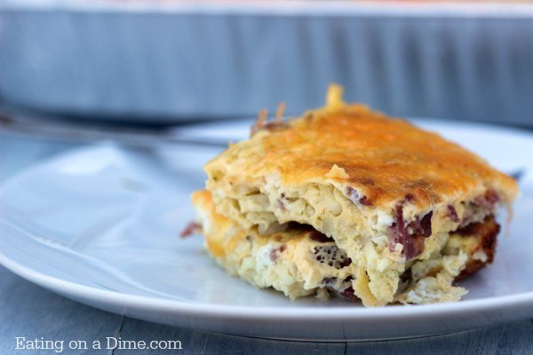 Try this easy Bacon Egg and Cheese Breakfast Casserole. You can make it the night before or in the morning. Bacon Egg and Cheese Casserole freezes great!