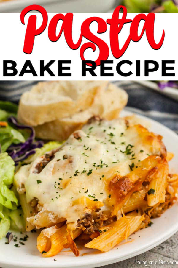 Easy Pasta Bake comes together in minutes with lots of hearty beef, cheese and more. This is freezer friendly, inexpensive and all around a great meal!