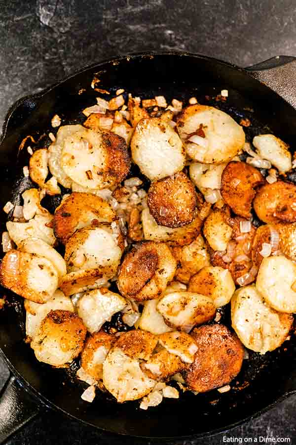 This pan fried potatoes recipe will be an instant family favorite! It will remind you of your grandma's pan fried potatoes!