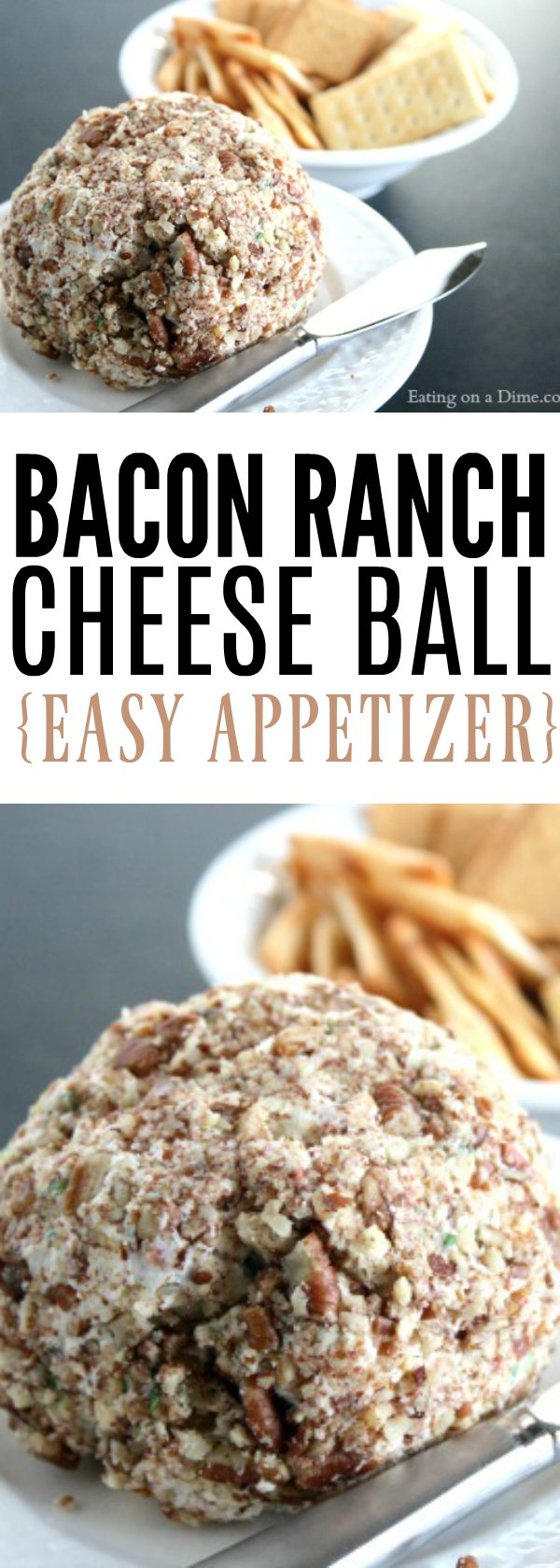 Need an easy appetizer recipe? Try this bacon ranch cheese ball recipe! You are going to love this easy bacon cheese ball recipe. It is the best!
