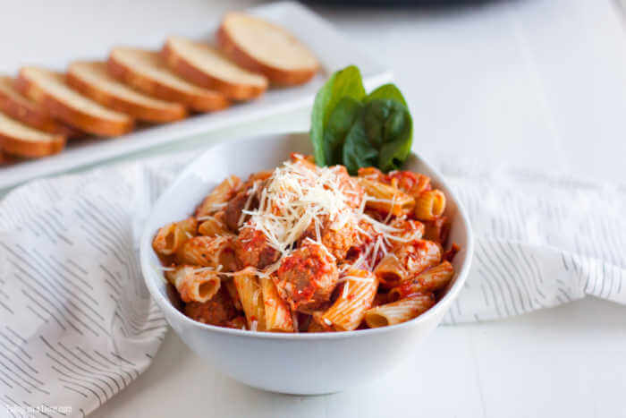 bowl of pasta and meatballs