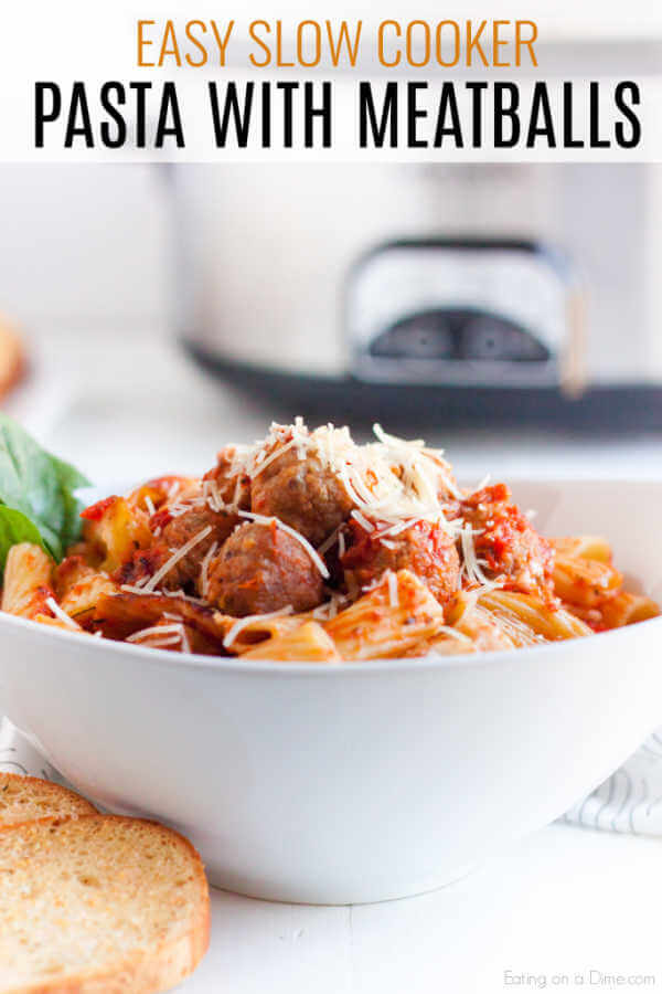 Crock Pot Baked Past With Meatballs Only 4 Ingredients