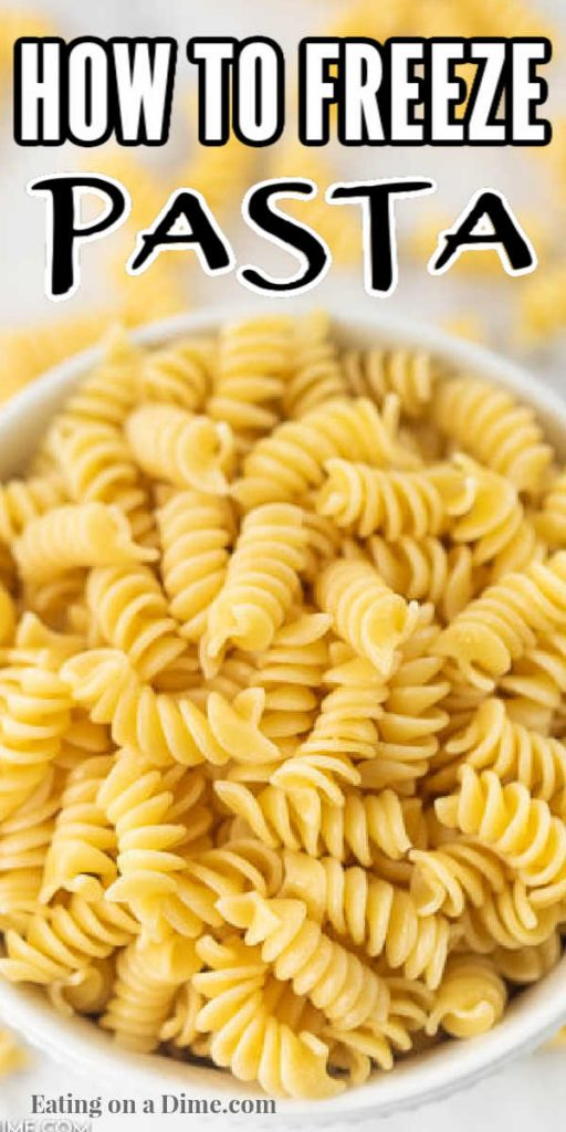Overview of a large bowl of cooked pasta.