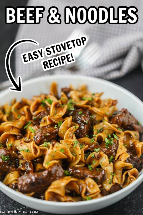 Make Beef and noodles recipe for a quick weeknight dinner. This easy homemade classic is easy to make on the stove top. Learn how to make this quick, simple, old-fashioned beef and noodles recipe on the stovetop. Learn how to make my grandma's best stove top quick beef and noodles with roast or with leftover roast. You are going to love this creamy easy quick stove top one pot beef and noodles recipe! #eatingonadime #beefandnoodles #stovetoprecipes #easydinnerrecipes #beefrecipes