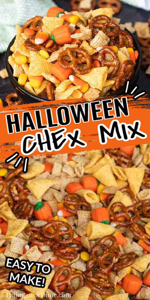 Halloween chex mix is the perfect snack for Halloween parties or an after school snack. If you are looking for a salty and sweet treat, try this snack mix.