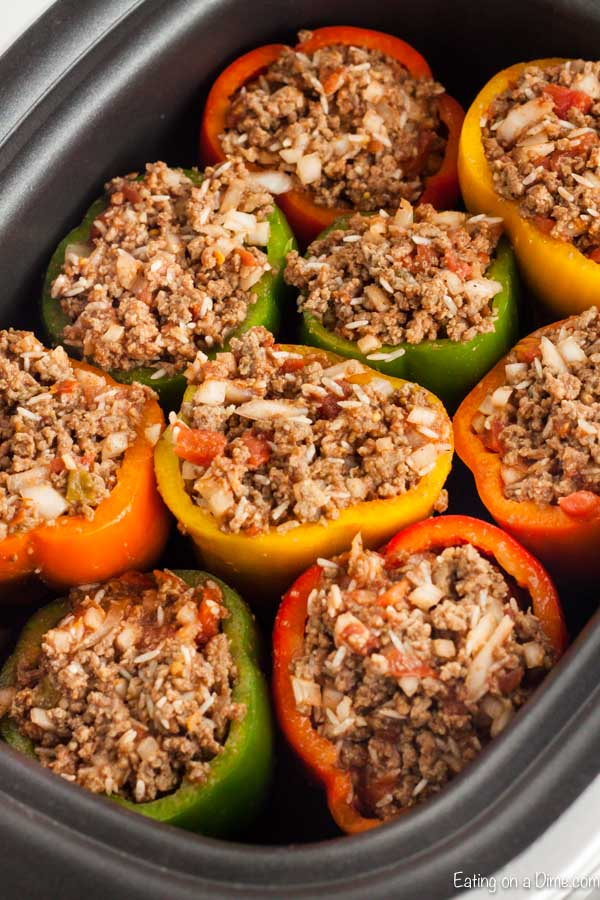 Need an easy crock pot recipe? Try this delicious Crock pot Stuffed Peppers recipe that is better than the traditional stuffed peppers recipe.