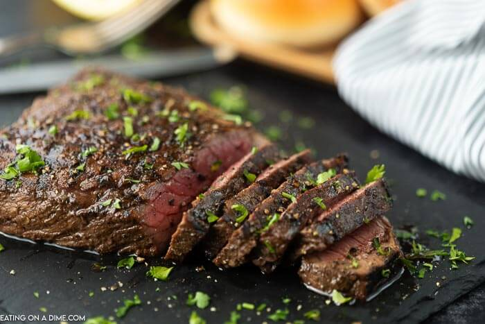 picture of london broil cut into slices.