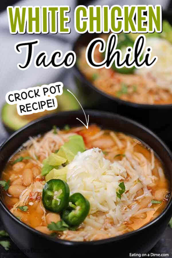 Crock pot white chicken taco chili recipe is delicious on a cold day. It is super easy and kid approved. You can add your favorite toppings!