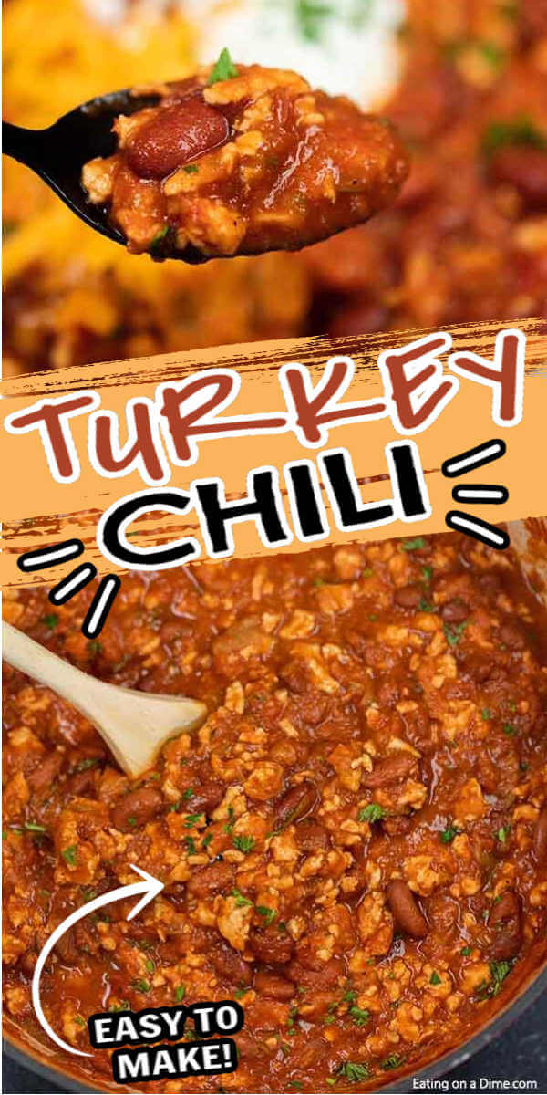 Ground turkey chili is a healthy, easy and frugal dinner idea. This ground turkey chili recipe easy stovetop recipe is the best! The best healthy quick ground turkey chili tastes great and is easy to make too! Everyone will love this simple healthy ground turkey chili recipe easy to make in one pot! #eatingonadime #chilirecipes #turkeyrecipes #onepotrecipes #dinnerrecipes