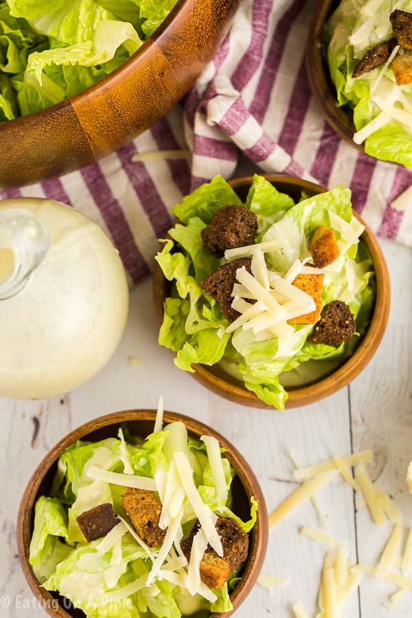 Make this Caesar salad dressing recipe and save money while enjoying a delicious salad dressing. You can easily add chicken or shrimp for a complete meal.
