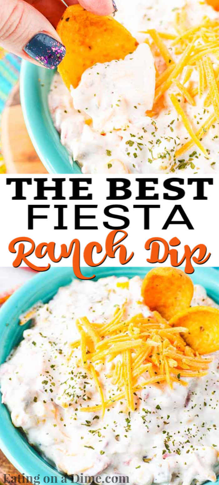 Try this easy Fiesta Ranch Dip Recipe at your next party or gathering. You will be surprised how delicious this easy fiesta ranch dip is to make.