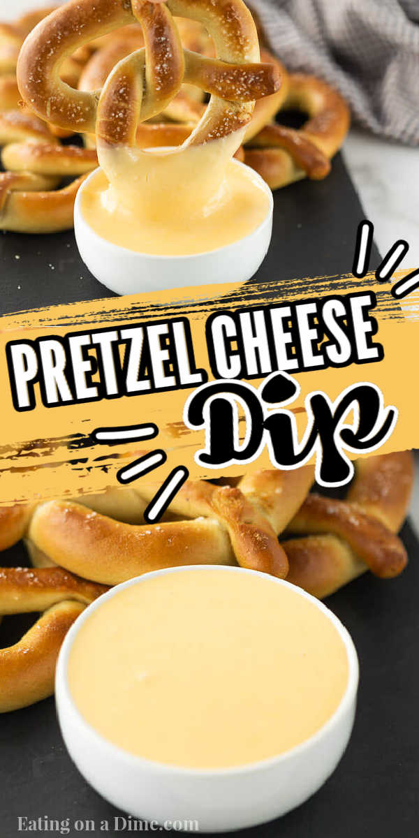 This is an easy cheese sauce for pretzels. This pretzel cheese dip sauce is simple to make with just a few ingredients. This is the best pretzel cheese sauce recipe! #eatingonadime #pretzelcheesesauce #pretzelcheesedip #cheesedip