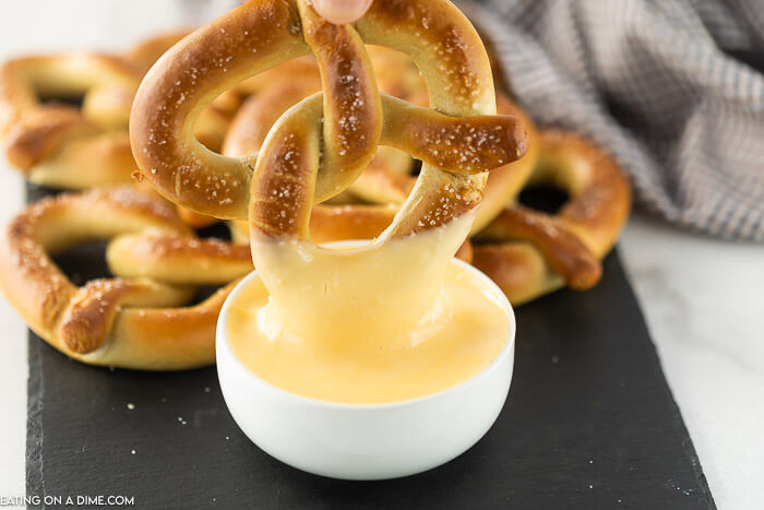 pretzels with cheese dipping sauce.
