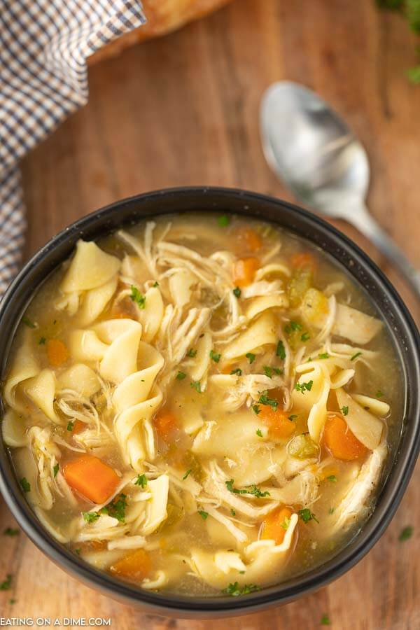 Enjoy Panera bread chicken noodle soup at home for a fraction of the price and save time too. We love it with grilled cheese for a quick meal.