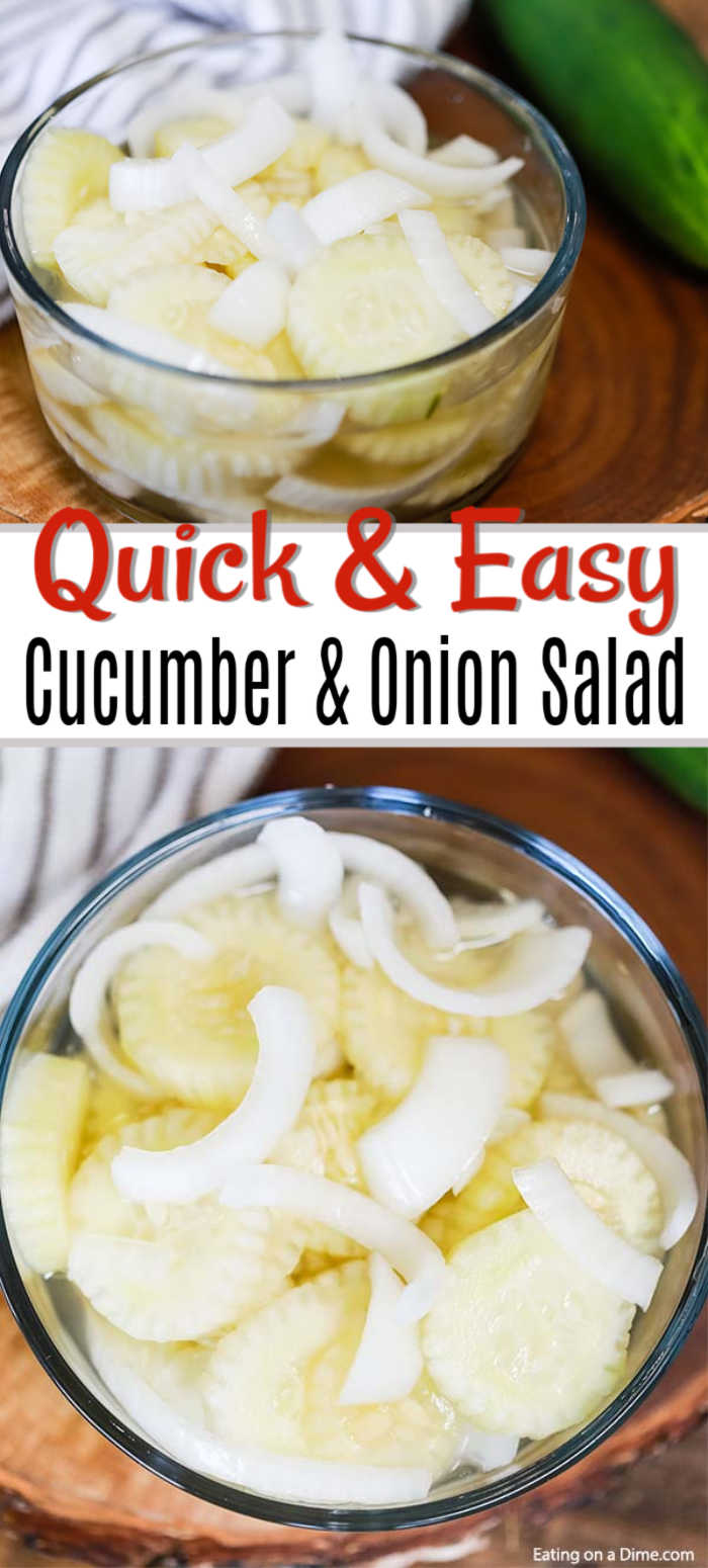 This simple and inexpensive Cucumber Onion Salad Recipe is simply fabulous! The flavor is amazing but it is just so easy to prepare and the best side dish.
