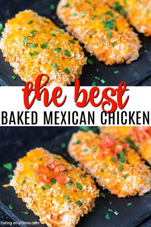 Baked Mexican Chicken is the perfect recipe to turn plain chicken into something fabulous. Each bite is loaded with cheesy goodness and delicious salsa.