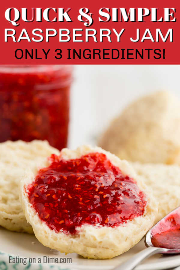 It really is so easy to make Raspberry jam recipe at home. You only need 3 ingredients to enjoy homemade raspberry jam. Enjoy on biscuits, toast and more!