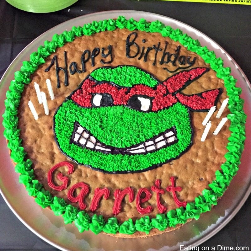 Incredible Easy To Make Ninja Turtle Cookie Cake Eating On A Dime Funny Birthday Cards Online Fluifree Goldxyz