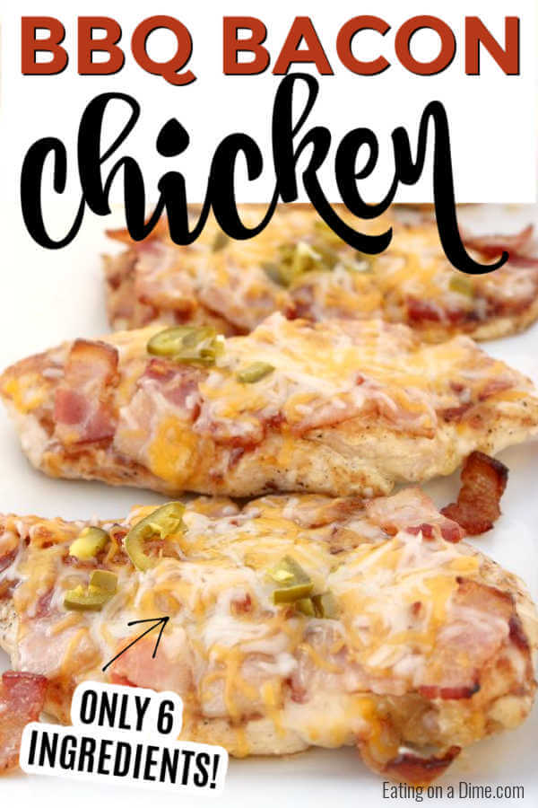 Bacon lovers will go crazy over this easy Bacon bbq chicken recipe. Layers of delicious cheese, BBQ sauce and bacon make this chicken tasty.