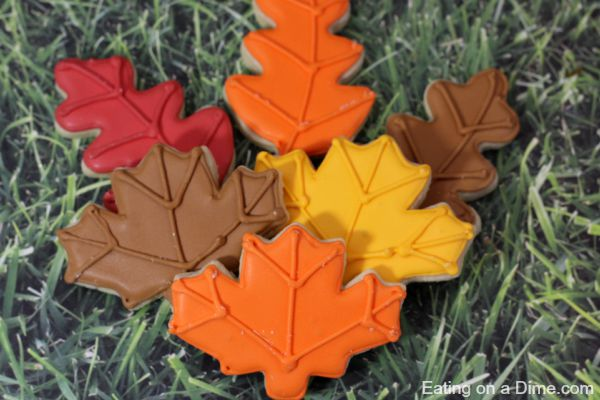 fall leaves sugar cookies with homemade royal icing