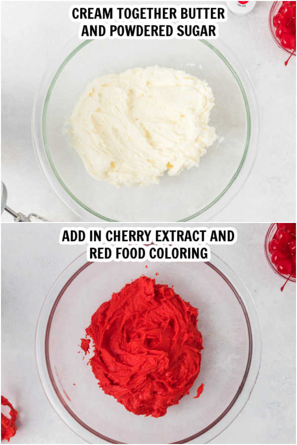2 pictures of making the icing. picture 1- cream together butter and sugar. PIcture 2 - add cherry extract and red food coloring.