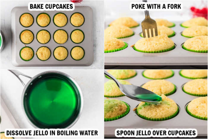 4 photos of making cupcakes. Picture 1: bake cupcakes. Picture 2: poke cupcakes with a fork. Picture 3: Dissolve jello in boiling water. Picture 4: spoon jello over cupcakes.