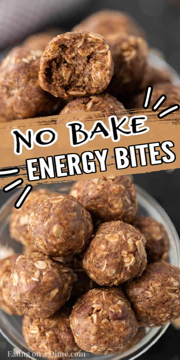 Learn how to make these easy, no bake, healthy energy bites. These no bake protein bites with flax seed are easy to make without only 5 ingredients. You are going to love this easy energy balls recipe. #eatingonadime #energybites #energyballs #healthysnacks