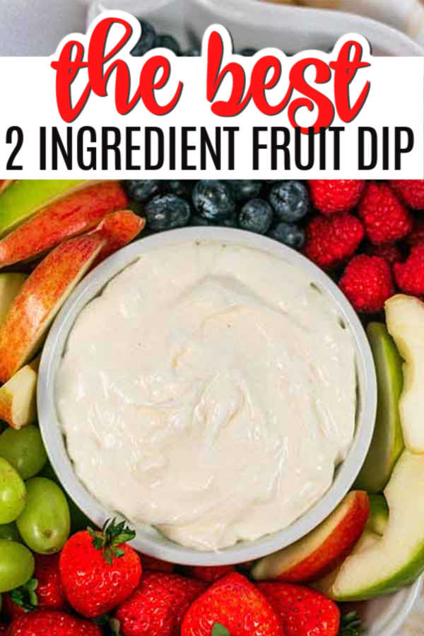 It doesn't get much easier than this 2 ingredient fruit dip recipe! It's so easy the kids can make it after a long day in the pool!