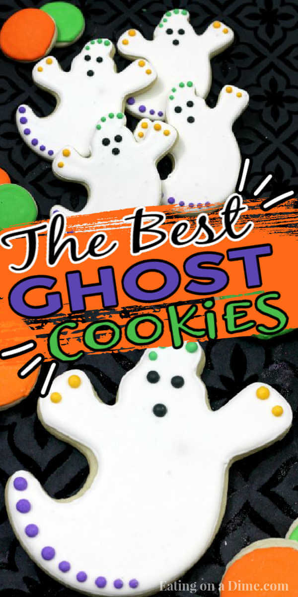 You just have to make these cute Ghost Cookies decorated with royal icing for Halloween. The kids will love decorating them and they are super easy to make! This DIY Ghost sugar cookies recipe is the best and perfect for any party or get together this year! #eatingonadime #cookierecipes #halloweendesserts #ghostcookies