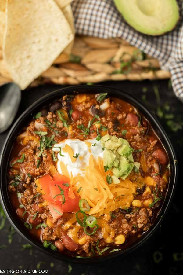 Jazz up traditional chili and make this easy Crockpot taco chili for an easy one pot meal. Everyone can choose their favorite toppings!