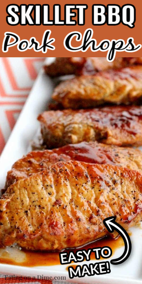 Don't let cooking pork intimidate you. This easy Skillet BBQ pork chops recipe is so easy in the skillet. It is the perfect weeknight meal.