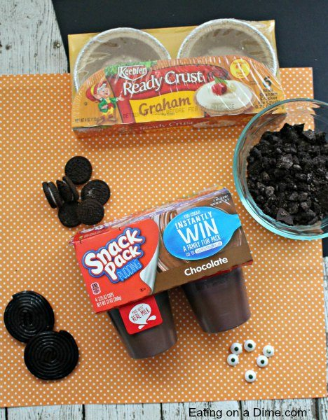 For A Fun And Festive Halloween Pudding desert, Try this Spider Chocolate Pudding Pie! Chocolate Pudding Pie recipe is made to look like spiders!