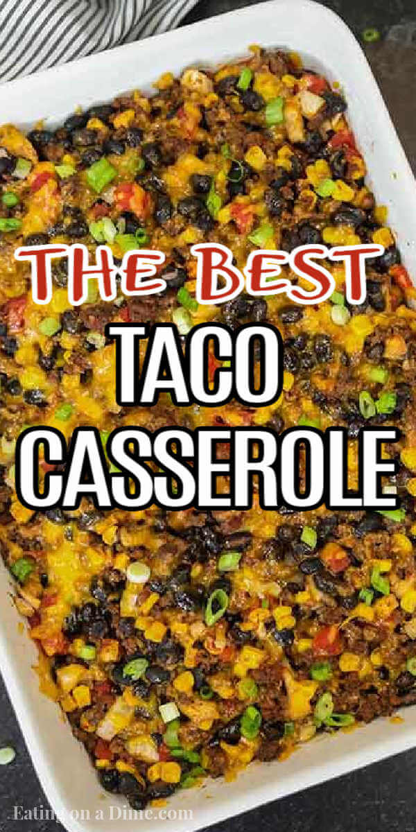 Taco rice casserole is an easy dinner idea and freezer friendly. It is a great recipe to stretch your meat and budget friendly. #eatingonadime #mexicanrecipes #casserolerecipes #recipeseasy #freezermeals